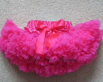 Hot Pink Pettiskirt, 9-24 mo, Ready To Ship, Girls Hot Pink Tutu, 1st Birthday Outfit, Baby Petti Skirt Tutu, Girl First Birthday Outfits