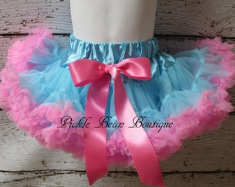 Blue and Pink Pettiskirt, 1-2 years, Ready To Ship, Birthday Tutu, Petti Skirts, Baby Girl 1st Birthday Outfit, Girls First Birthday Outfits