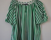 a vintage 60s 70s green & white striped top blouse. sz large/x-large