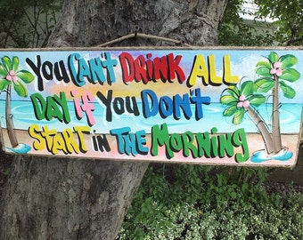 Tropical Paradise Tiki Hut Bar Drink Parrothed Beach Pool Patio Handmade Wood Sign Plaque