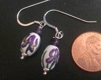 Iris Earrings-Hand Painted Jewelry