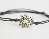 Lotus Flower Bracelet or Anklet In Antique Brass, Bronze Bracelet, Flower Bracelet, Floral Bracelet, Lotus Bracelet, Meditation, Yoga Gift