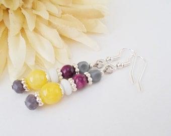 Boho Drop Earrings, Purple Beaded Earrings, Clip On Earrings, Yellow Earrings, Nickel Free Earrings, Wedding Earrings, Bridesmaids Earrings