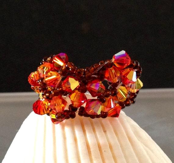 Fiery OOAK HandCrafted Swarovski Fire Opal Ring