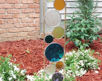 Stained glass garden art stake dark aqua chartreuse amber purple teal green outdoor modern garden sculpture