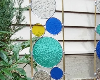 Stained glass garden art stake sea green yellow blue outdoor yard decoration modern garden art