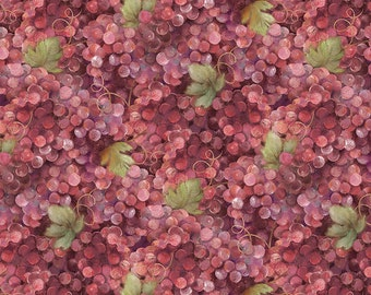 Vino Bellisimo Grapes Allover Red (more wine color) cotton fabric from Wilmington Prints