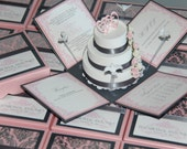 Pink and Grey Exploding Box Wedding Invitation with 3-Tier Cake