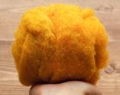 Butternut Needle Felting Wool, Golden Yellow, Wool Batting, Batts, Wet Felting, Spinning, Dyed Felting Wool, Fiber Art Supplies