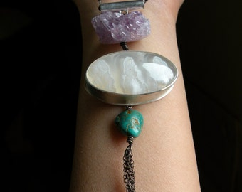 Sterling, Plume Agate, Turquoise and Raw Amethyst Necklace - Collections