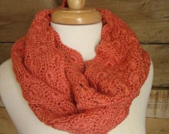 Salmon Crochet Cowl, orange cowl, crochet cowl, orange snood, long cowl, orange crochet cowl, infinity scarf, orange, persimmon,salmon scarf