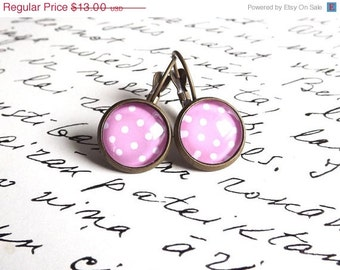Pink polka dots earrings- Pastel colors- Pastel pink polka dots earrings- Dangle earrings- Gift for girl