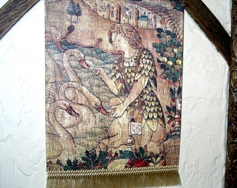 Swan Knight Tapestry, Lohengrin Legend, Medieval Dollhouse Miniature, 1/12 Scale, Hand Made