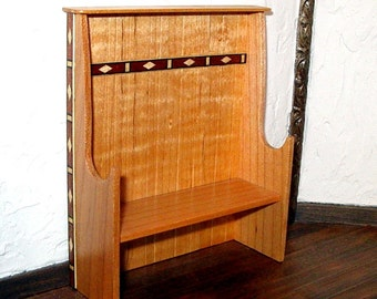 Maple Settle with Inlay Trim, Dollhouse Miniature 1/12 Scale, Hand Made in the USA