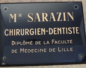 Vintage Black Glass French Dentist Sign / Wall Plaque / Industrial Decor / Dentist Office Decor / French Decor