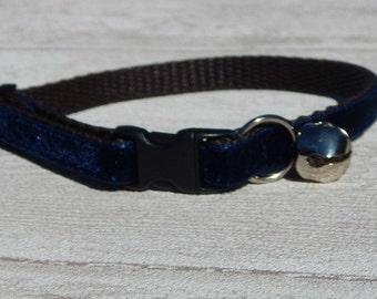 Navy Blue Velvet Cat Collar