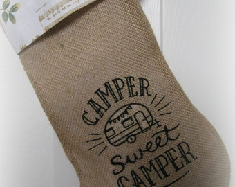 Vintage/ camper/ embroidered/ burlap/ Christmas stocking/ typography/ Christmas decor/ red /gold/ green/ gold
