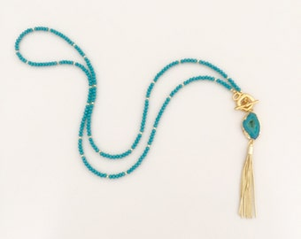 Aqua Blue Agate Pendant Necklace - Aqua Blue/Green Swarovski Crystal Beads and Gold Glass and Metal Beaded Chain - Gold Tassel