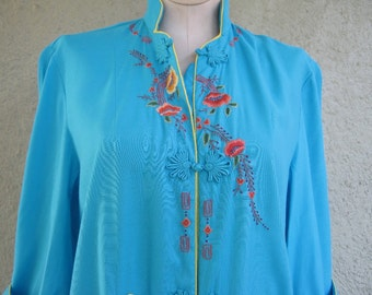 Chinese Robe - Hand Embroidered Asian Robe - Asian Jacket Coat - Chinese Tunic Dress