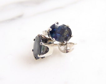 Vintage Natural Oval Sapphire Stud Earrings 18k White Gold