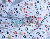 "Red, Blue & silver foil stars on white 7/8"" grosgrain ribbon- 4th of july"