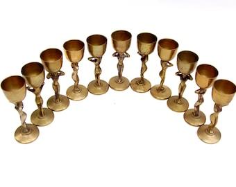 Vintage Brass Goblet Set Mid century Barware Art Deco Nude Goblets Bacchante Cordial Cocktail Chalice Set of 11