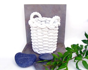 Vintage Planter Italian White Woven Pottery Basket Shabby chic Garden Decor Ceramiche Castellan Italy Porcelain Flower Pot