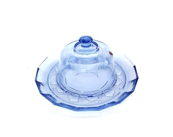 Vintage Cloche Cheese Dome Large Sapphire Blue Glass Butter Dish Serving Set