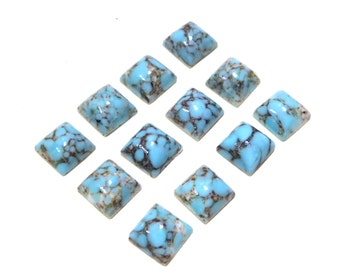 Vintage Glass Square Turquoise Cabochons - Smooth Handmade Faux 8mm 12 pices pcs