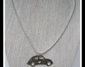 Car Pendant, Silver Car Necklace, Vintage, Recycled, Antique, Mixed Metal, Mixed Metal Mimi, Retro, Hippy,Love Bug Necklace -N-004