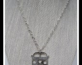 VW Love Bus Necklace, Van, Van Pendant, Necklace for Men, Recycled, Vintage, Recycled, Retro, Hippy, Heart, Love -N-005