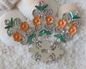Floral & Leaf Scrolled Link and Strand Separator - Orange Flowers/Green Leafs - 4 pcs