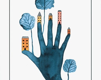 Art illustration print hand and houses, Trees village graphic art, Drawing homes, Hand art, Blue gold illustration print 10 x 8 artwork