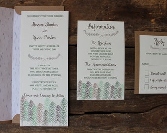 Wedding Invitation // Woodland Trees // Rustic & Modern // Outdoor or Country Wedding // Sample Only