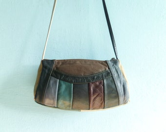 Vintage patchwork leather purse bag shoulderbag / multicolor blue grey beige burgundy / zip up / small