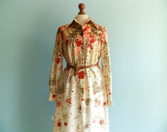 Vintage floral dress / cream white red pink beige / long sleeves / mod dress / 60s 70s / Fred Rothschild California / midi lenght / medium