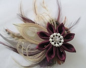 Marsala Bridal Flower, Burgundy  & Ivory Peacock Head Piece, Cranberry- Champagne Feather Hair Piece, Rustic French Veil, Country Bride