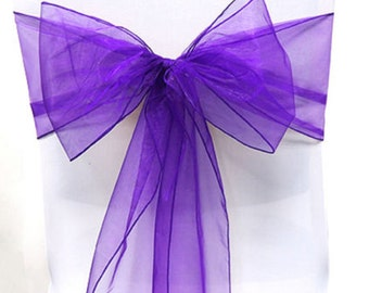 Organza Chair Sashes Purple 8 X 108  Wedding Birthdays corporate Events  Pew Bows Ships flat