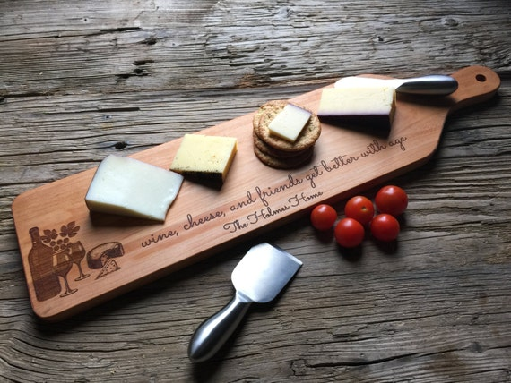 Personalized Cheese + Bread Board - Custom Engraved - Closing Gift, Wedding Gift, Housewarming Gift, Anniversary Gift