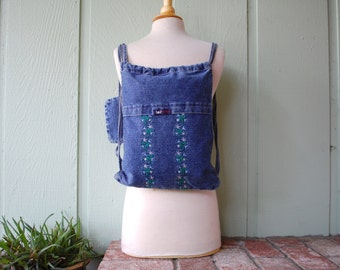 VTG Lei Jeans Denim Jean Sack pack Backpack Coin Purse 80s 90s Floral Flower Power Hippie Boho Tote Bag Summer Fashion Travel Grocery Bag