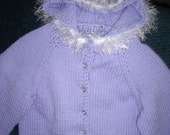 Lilac Hooded Sweater with White Fun Fir Trim