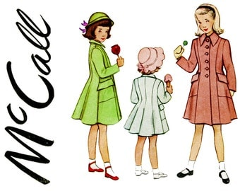 1940s Girls Coat Pattern Size 3 Breast 22 McCall 7805 Princess Seam Coat Lined, Fall, Winter Spring Coat Childrens Vintage Sewing Patterns