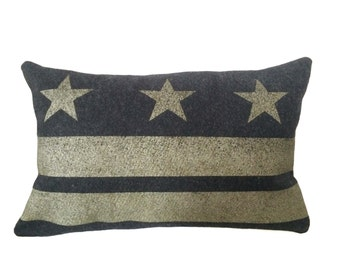 Washington DC Flag Pillow Cover - Charcoal Gray