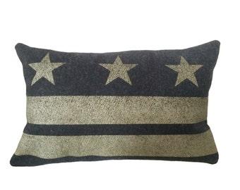 READY TO SHIP: Washington D.C. Flag Pillow Cover - Charcoal Gray