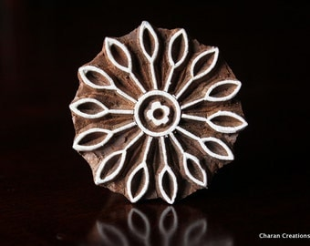 Textile Stamps, Pottery stamps, Indian wood stamps, Blockprint Stamps-Round Flower
