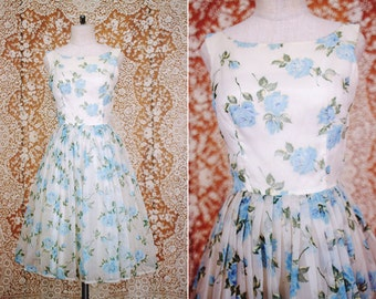 SALE / vintage 1950's sheer white & blue floral party dress / size s