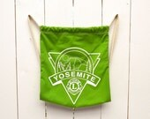 Yosemite Drawstring Backpack Early 90s Vintage Lime Green Canvas Camping Hiking Knapsack
