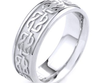 White Gold Celtic Band, Celtic Knot Ring, Mens Jewelry Celtic Wedding Ring, Man Celtic Band, Mens Celtic Ring, Anniversary Ring, Man Rings