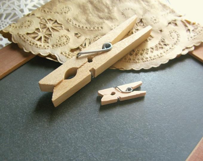 """Ultra Mini Clothespins, 1"""" Mini Wood Clothes Pins, Wedding Favor Pins, Craft Clothespins, DIY Wedding, set of 25"""