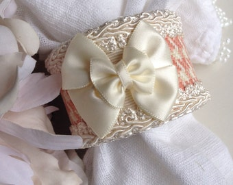 Pink & Ivory Napkin Rings Bow Tie Handcrafted Bowtie Houndstooth Fabric Artisan Hand Crafted by Michele of Haute Interiors LLC -  #44